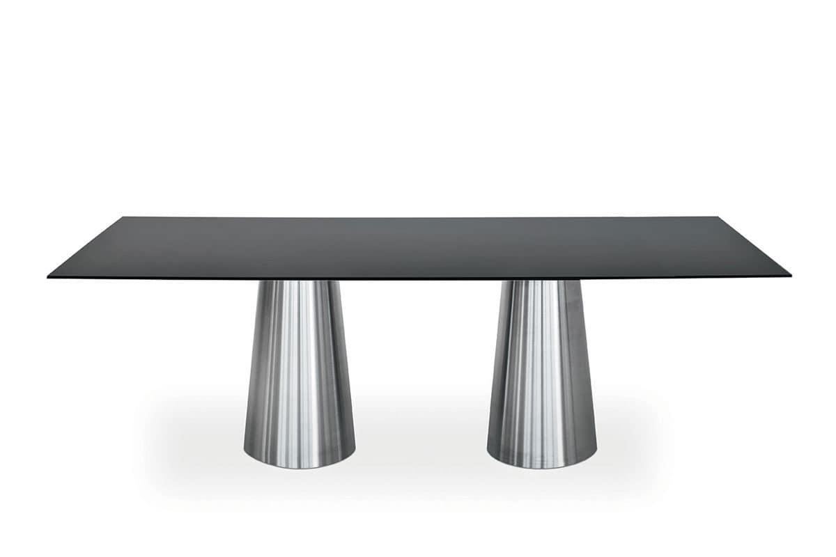 Tavolo con due colonne in acciaio inox piano in cristallo for Tavoli moderni vetro design