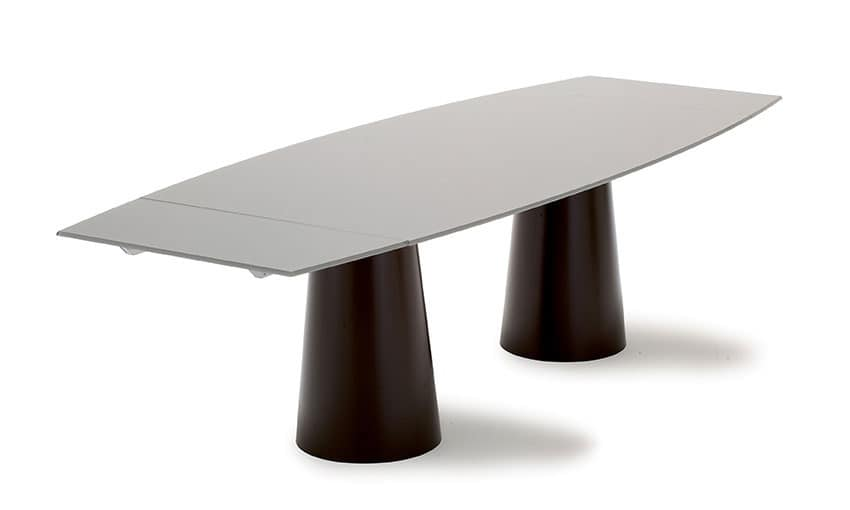 Tavolo allungabile in acciaio inox con piano in cristallo for Tavoli in cristallo e acciaio