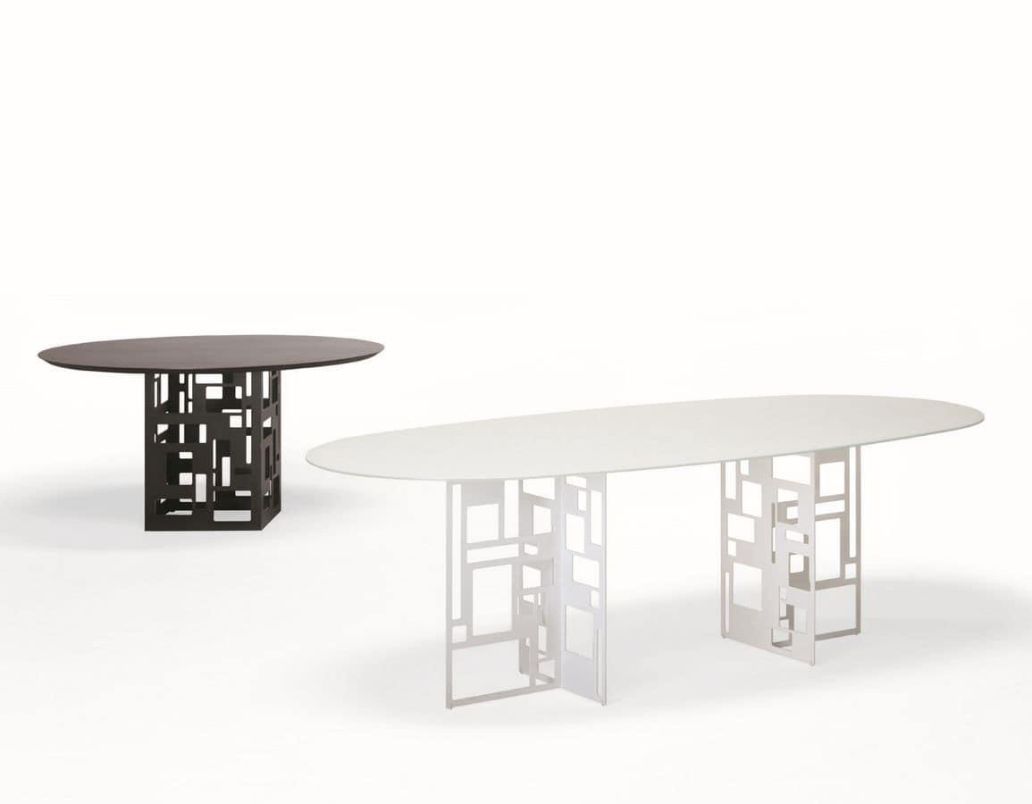Tavolo ovale, con piano in vetro, adatto per sala da pranzo ...