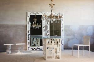Velasca Tondo, Tavolo con piano in vetro rotondo, base in metallo