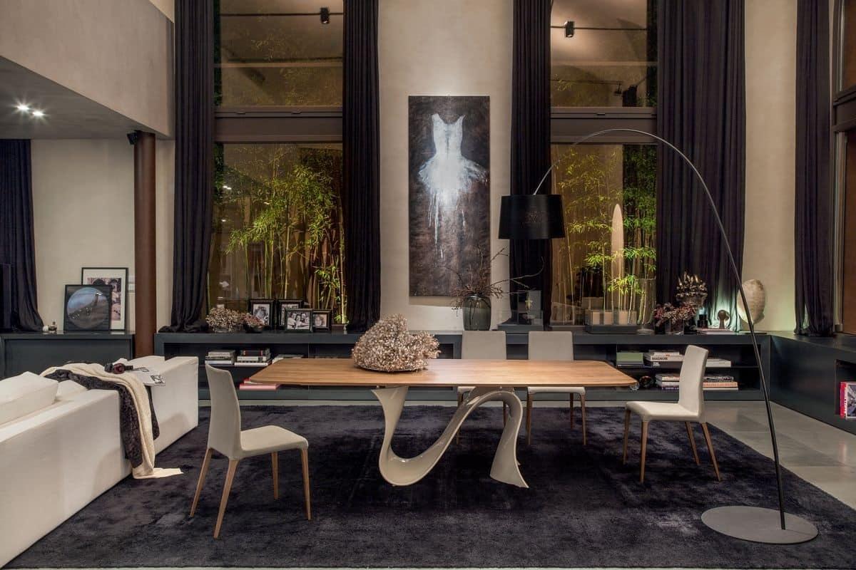 Tavolo allungabile da pranzo piano in vetro per for Tavoli contemporaneo design