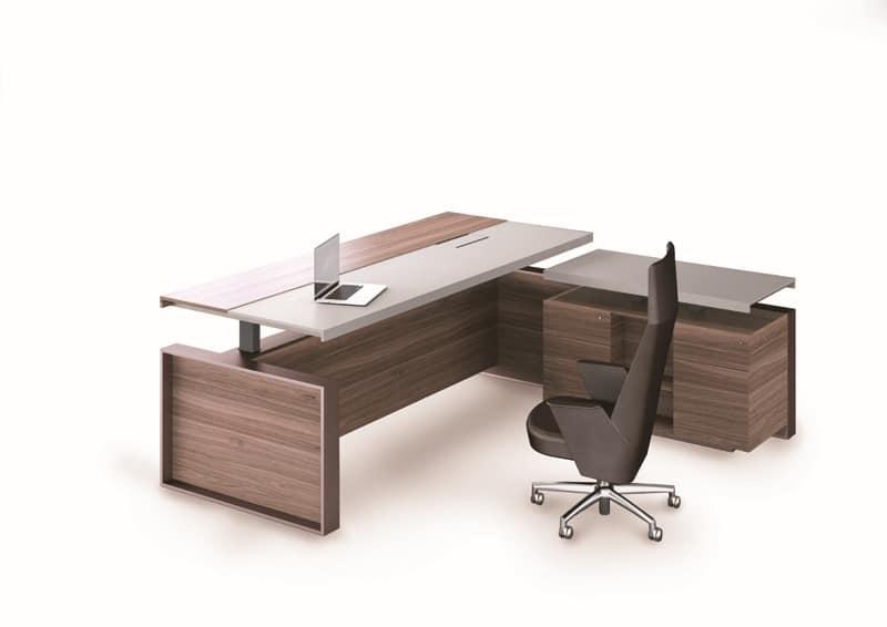 Ufficio Legno E Vetro : Tavoli uffici direzionali struttura metallica piano in legno e