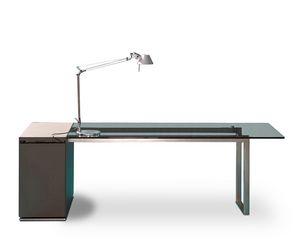 Deck Glass scrivania direzionale, Scrivania per ufficio direzionale, piano in vetro, struttura in metallo