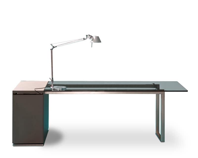 Fabulous deck glass scrivania direzionale scrivania per for Scrivanie ufficio vetro prezzi
