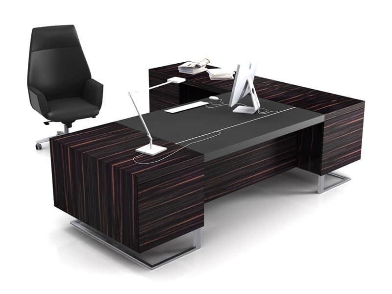 Scrivania grande legno e metallo ideale per ufficio for Scrivania direzionale prezzi
