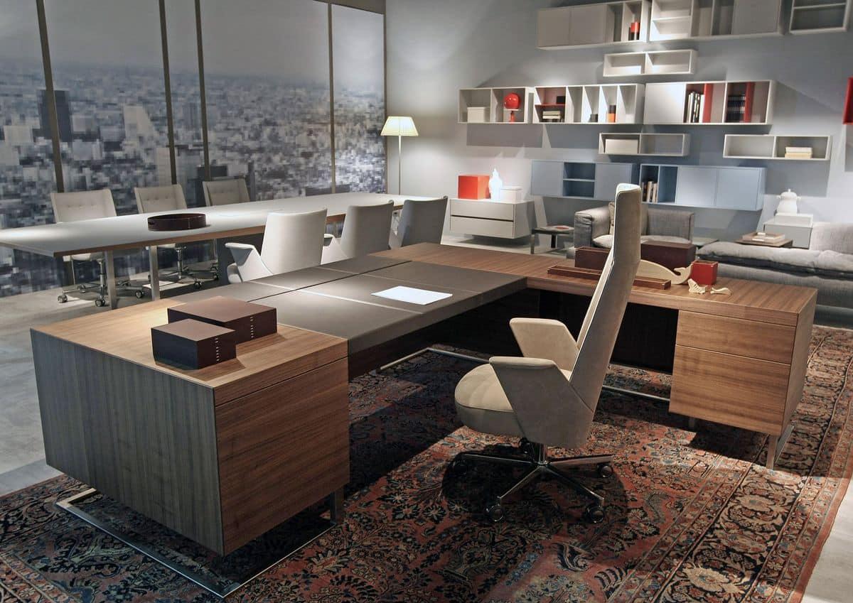 Tavolo Ufficio Legno : Scrivania grande legno e metallo ideale per ufficio direzionale