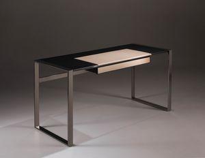 Desk rovere pelle, Scrivania design, con piano in legno e pelle