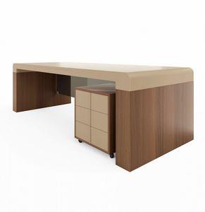 Fusion scrivania 220.S24F, Scrivania con piano in pelle, per ufficio presidenziale