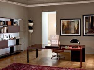 More 575 scrivania direzionale, Scrivanie direzionali moderne, struttura in metallo, piano in legno