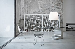 Niemeyer scrivania direzionale, Scrivanie presidenziali design, base in metallo, piano in legno