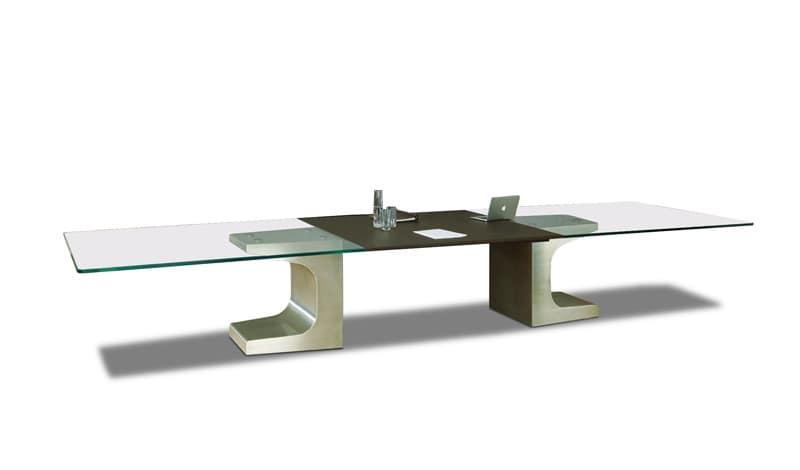Tavolo grande per sala riunioni base in metallo piano in - Tavolo grande legno ...