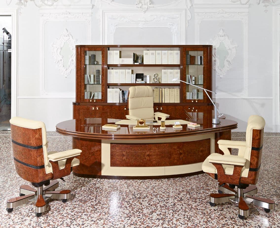 Scrivania presidenziale dalle forme arrotondate in stile for Office ufficio