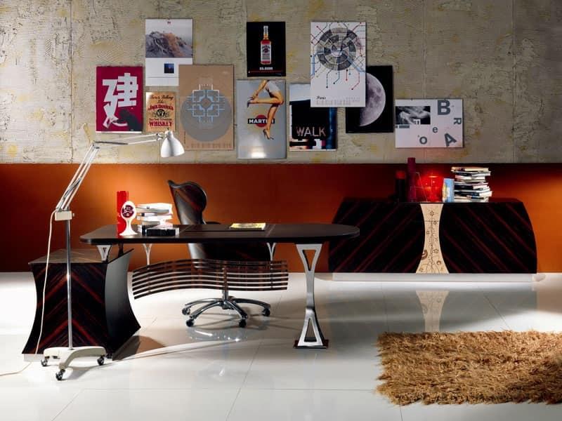 Trendy sc cartesio scrivania direzionale in ebano per for Scrivania grande da ufficio