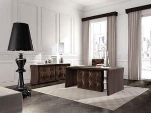 Wall Street tavolo ufficio, Tavolo per ufficio direzionale, in legno rovere, capitonnè