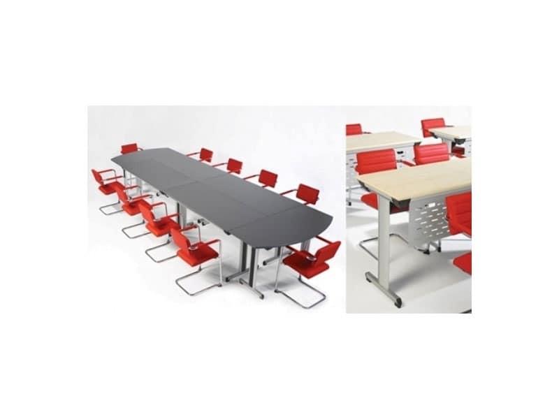 Configure-8 C.834, Tavolo pieghevole per uffici e alberghi, leggero e robusto