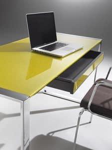 Desk, Scrivania con struttura in acciaio, piano in cristallo