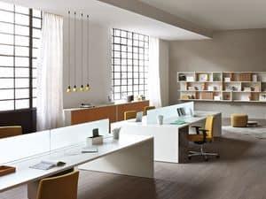 Loop In scrivania operativa 4, Scrivania multipostazione per ufficio, Tavoli da ufficio