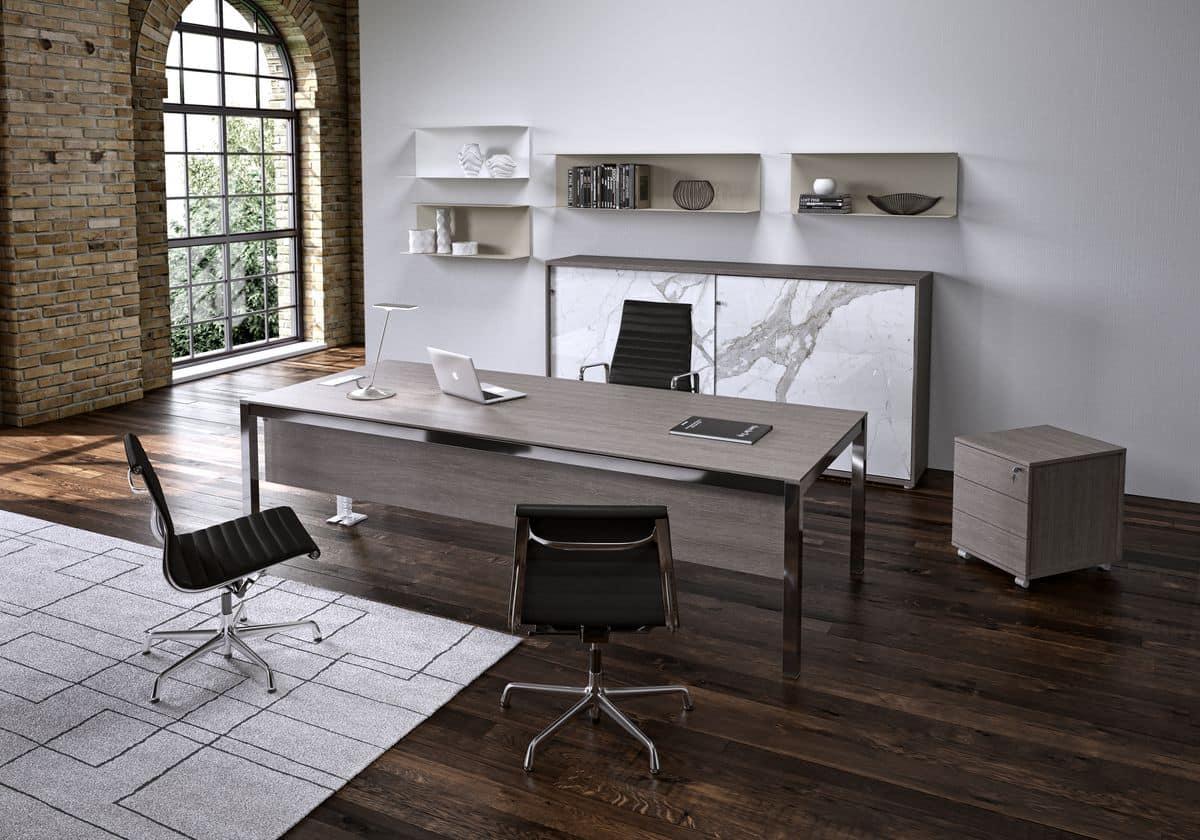 Scrivania Ufficio Sospesa : Tavolo rettangolare in alluminio per uffici operativi idfdesign