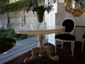 475 TAVOLO, Tavolo da pranzo lineare, in legno, rotondo, classico