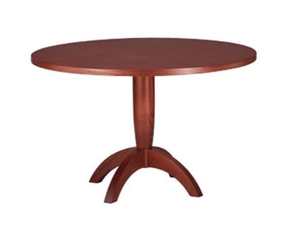 Tavolo con piano tondo in legno di faggio per cucina for Tavolo tondo alto