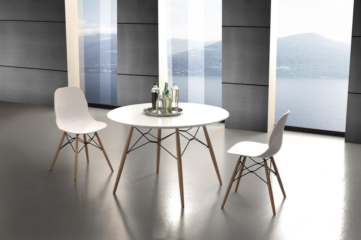 Tavolo rotondo da cucina, con piano in laminato | IDFdesign