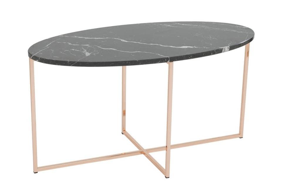 Tavolo ellittico con piano in marmo idfdesign - Tavolo ellittico ...