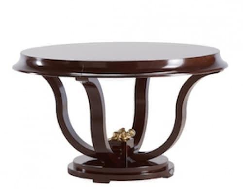 Tavolo tondo per sala da pranzo in legno verniciato for Tavolo tondo legno
