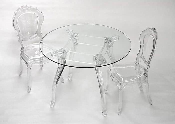 Elegante tavolo tondo con piano in vetro gambe in for Tavolo rotondo vetro