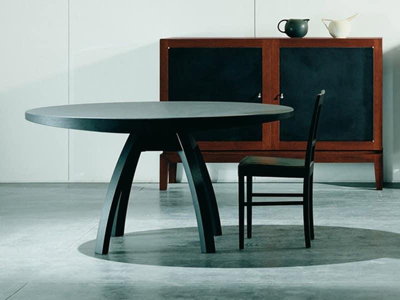 tavolo allungabile in legno piano rotondo per sale da