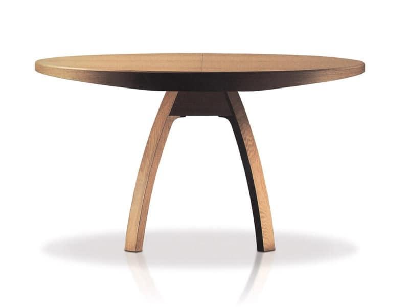 Tavolo allungabile in legno piano rotondo per sale da for Tavoli da pranzo allungabili di design