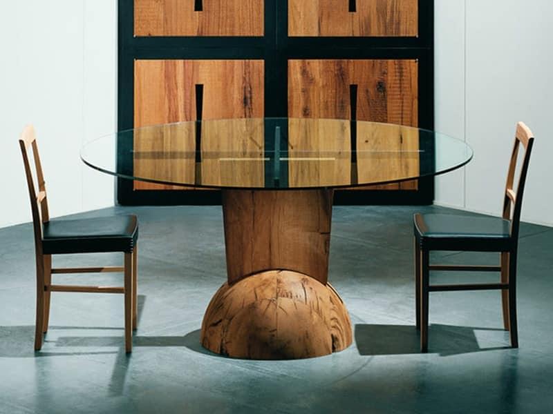 Tavolo in legno, piano tondo, per pub ed enoteche  IDFdesign
