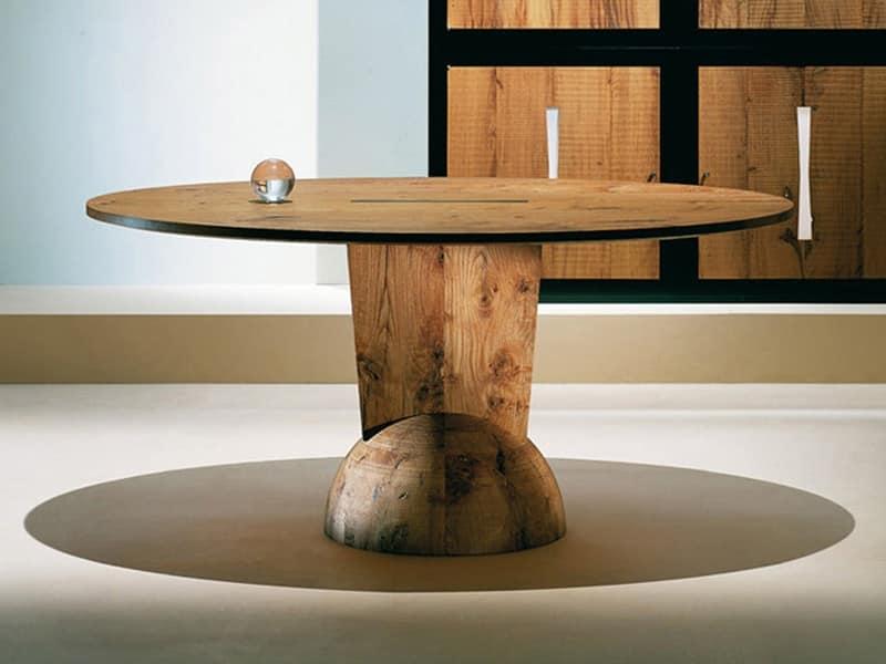 Tavolo in legno piano tondo per pub ed enoteche idfdesign for Tavolo tondo legno