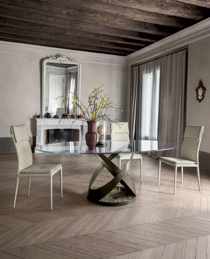 CAPRI, Tavolo fisso con struttura in metallo  verniciato e base in marmo