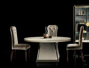 DIAMANTE tavolo rotondo, Elegante tavolo da pranzo con piano tondo
