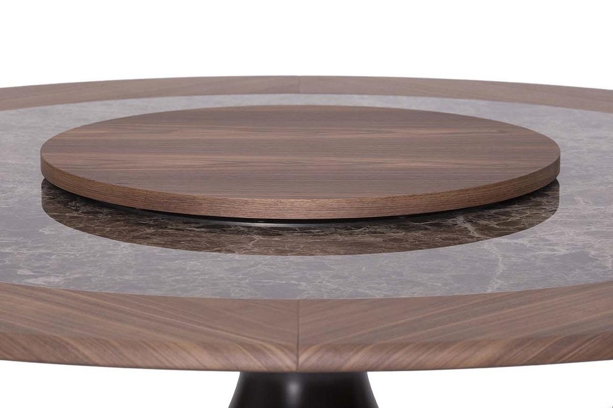 DOLLY, Tavolo fisso con base in agglomerato laccato e piano in vetro o ceramica con ring in legno