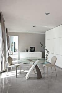 Immagine di ELISEO, tavolo con top in vetro