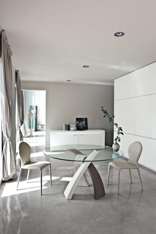 Tavolo da pranzo con piano tondo in vetro, per ristorante | IDFdesign