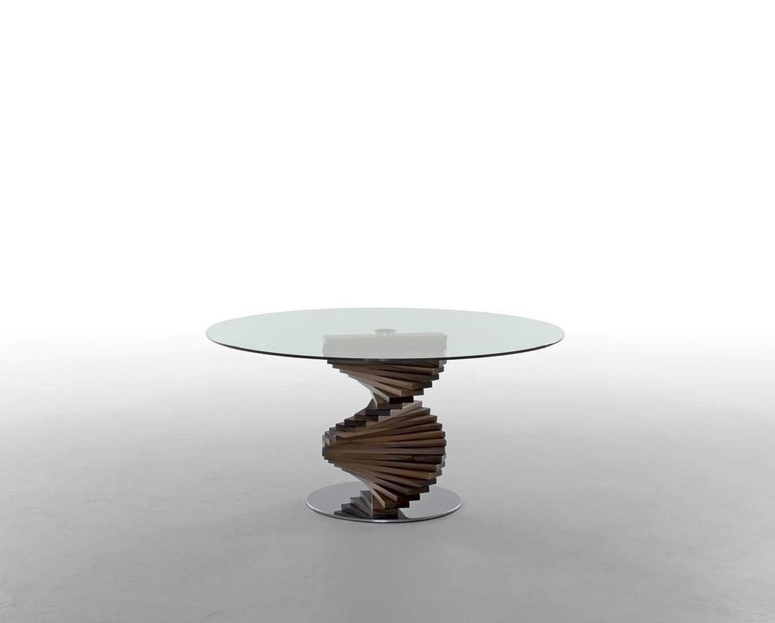 FIRENZE, Tavolo fisso con struttura in legno massello  e base in acciaio lucido