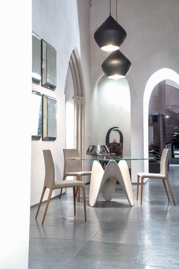 Tavolo tondo con base in tecnoril con piano in vetro for Tavolo tondo design
