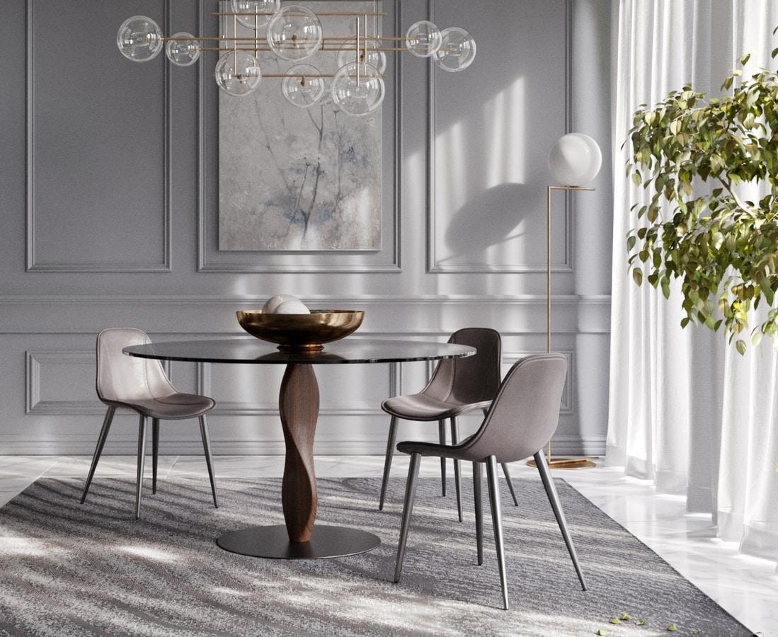 Elegante tavolo tondo, con piano in cristallo | IDFdesign