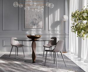 GENESIS, Elegante tavolo tondo, con piano in cristallo