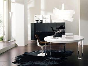 GEORGE tondo, Tavolo rotondo con gambe in metallo, per soggiorno