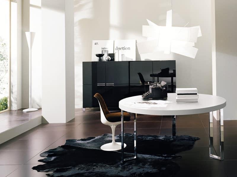 Tavolo rotondo con gambe in metallo, per soggiorno  IDFdesign