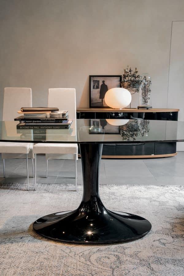 IMPERIAL, Tavolo con piano ellittico in vetro, base in marmo laccato