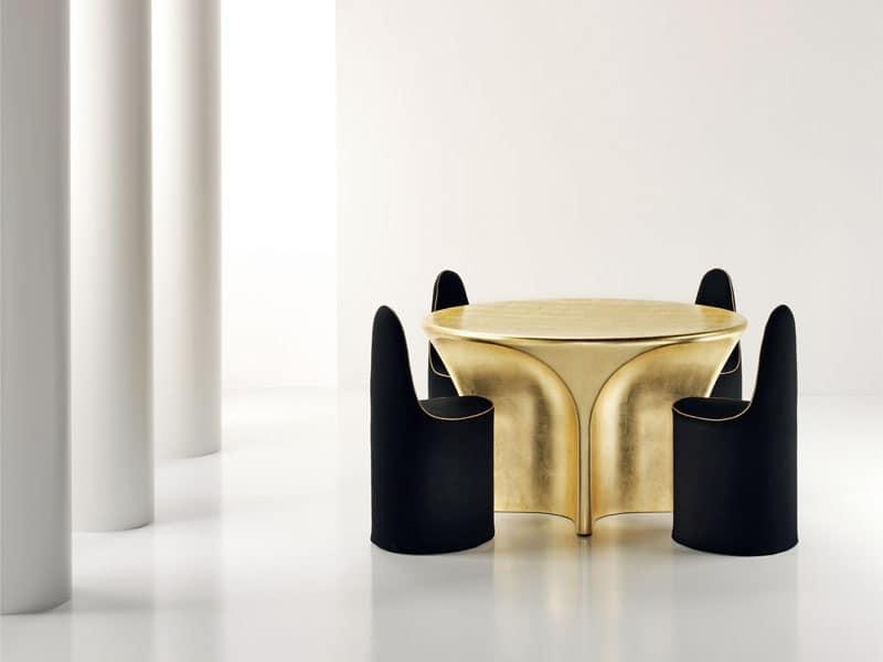 Tavolo tondo, in fibra di vetro, rivestito in foglia d'oro  IDFdesign