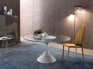 Lucas 542+022, Tavolo con piano rotondo, in plastica laccata, per albergo