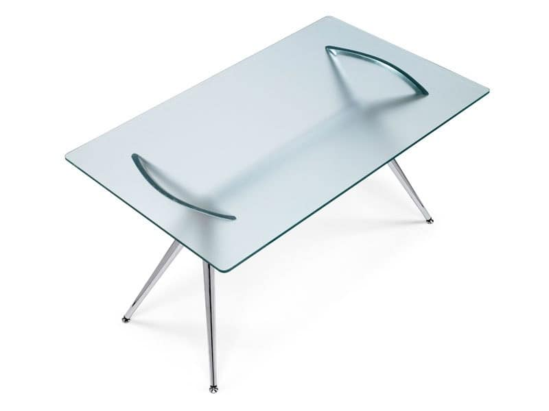 Metropolis 160x90 cm, Tavolo design rettangolare in metallo, piano in vetro