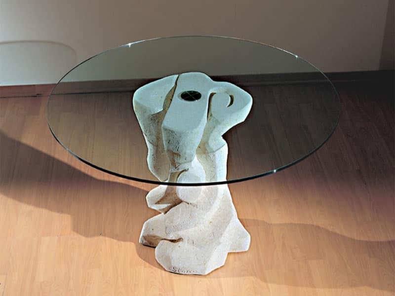 Tavolo rotondo con base in pietra, piano in cristallo ...