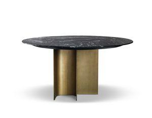 Mirage tavolo tondo, Tavol tondo con piano in marmo