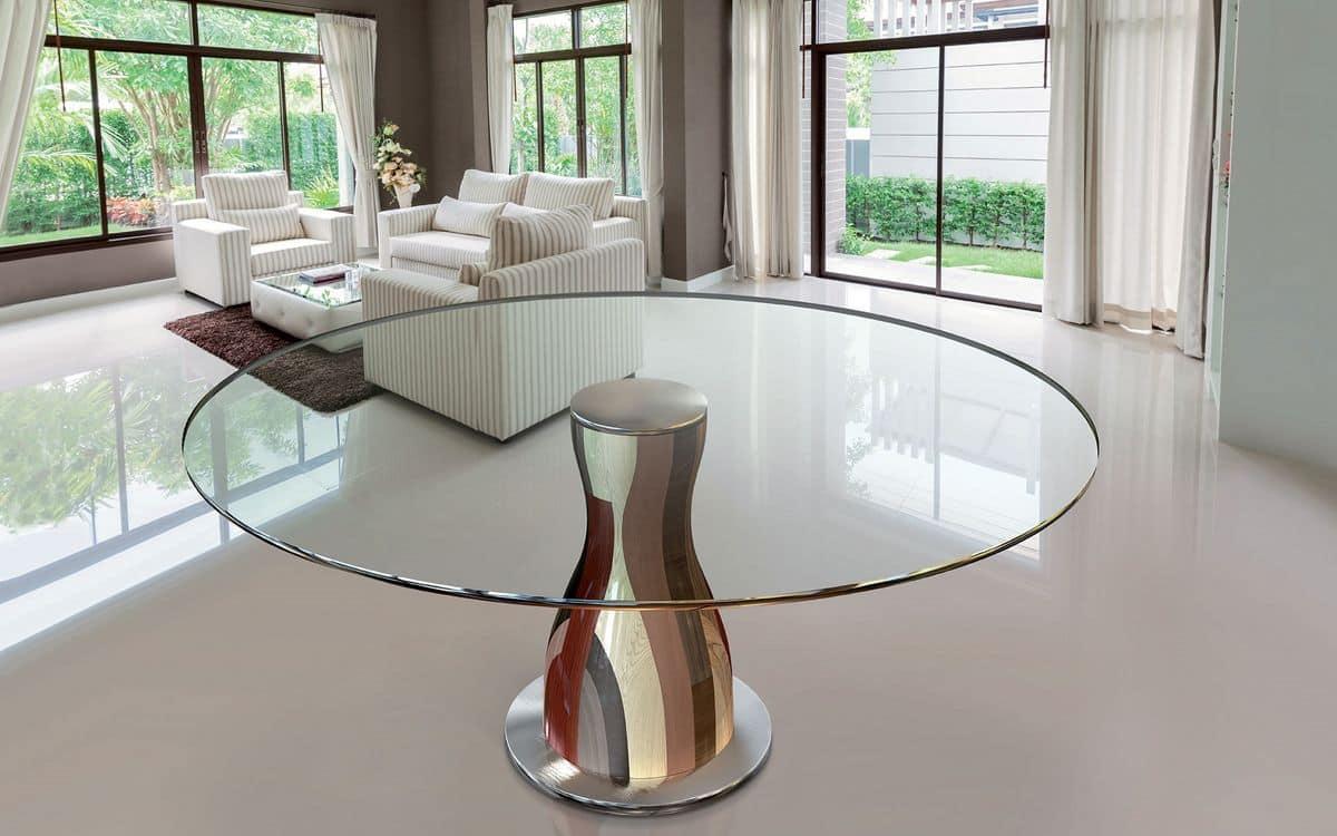 Tavolo tondo piano in cristallo struttura in legni for Tavoli in cristallo